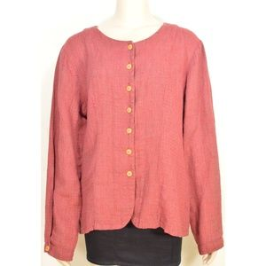 Flax Engelhart jacket top SZ M rusty red long slee